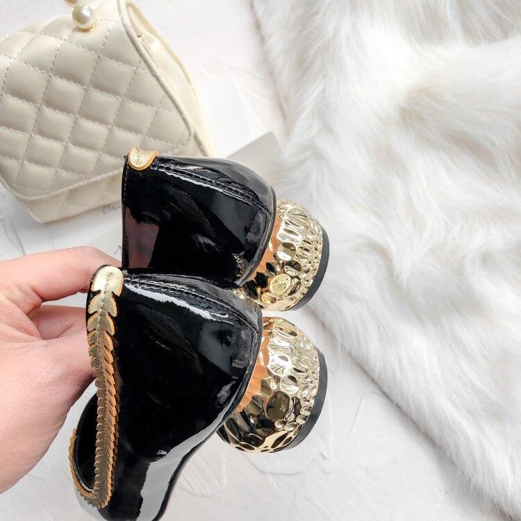 Mljuese 2020 bombas femininas primavera outono macio couro de vaca salto de cristal cor preta apontou dedo do pé baixo sapatos senhora vestido festa