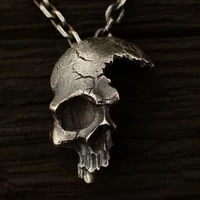 secret boys gothic vintage broken skull stainless steel pendant necklace mens steampunk fashion knight necklace jewelry