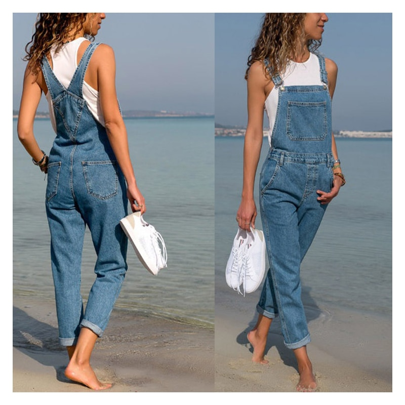 Fashion Women Ladies Baggy Denim Cross Border Special Jeans Bib Full Length Overall Solid Loose Casual Jumpsuit Hot Suspender jumpsuit bodysuit arrival women ladies baggy bib full length pinafore dungaree overall solid loose causal jumpsuit pants summer