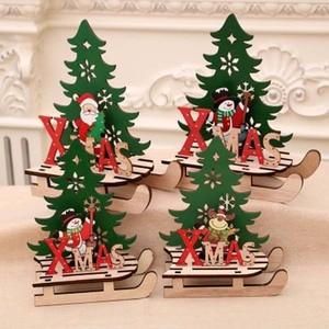 DIY Santa Claus Snowman Xmas Tree Christmas Tree Shape Wooden Pendants Deer Ornaments Christmas Party Decoration Home Decor 1PC