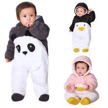 Newborn Baby Winter Overalls Cartoon Panda Girls Costume Infant Baby Coral Fleece Hoodies Jumpsuit 12 Month Clothes Girls Footie
