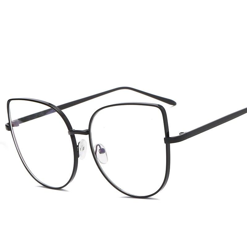 Montura de gafas de película Azul, gafas con pantalla blanca, Ojo de gato a la moda, lente plana, Metal grande para mujer