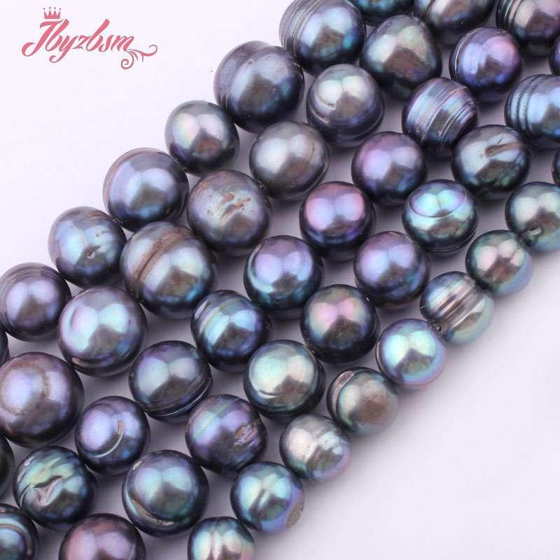 """9-10,10-12,11-14mm gris oscuro perla de agua dulce irregular flojo cuentas de piedra Natural para el collar de la pulsera de la fabricación de la joyería DIY 15"""""""