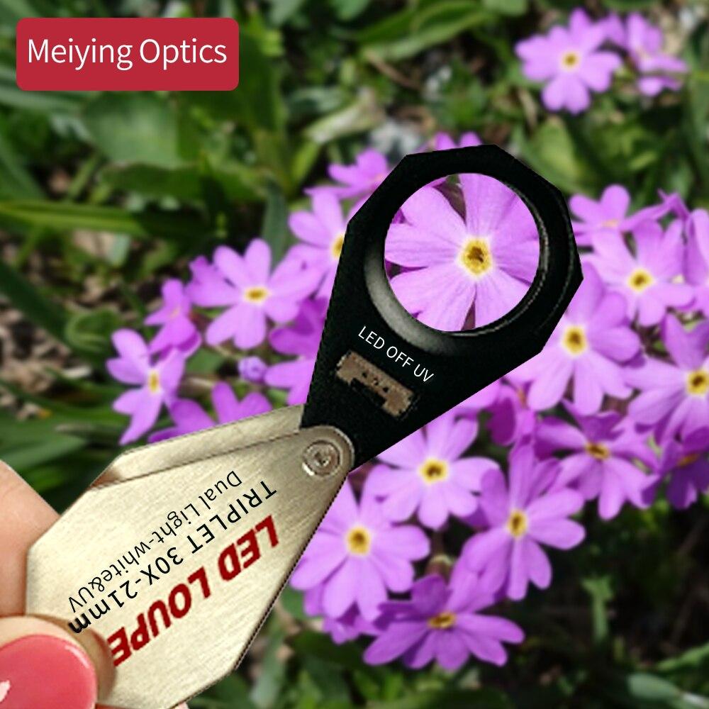 Lupa de lente triple lupa con lupa de aumento de 30x con luz de 6 LED UV 21mm para gemas, joyas, monedas, sellos, etc