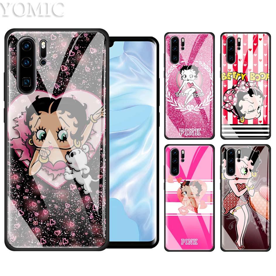 Funda Betty Boop MY Pink para Huawei P20, P30, P10, Honor 8X, 20Pro, Mate 10, 20 Lite, funda de teléfono de cristal templado y TPU negro