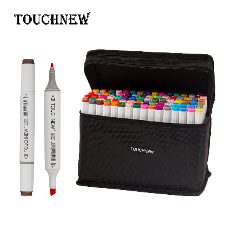 Touchnew marcador pluma estudiante de arte plumas para dibujo Alcohol marcadores 30/40/60/80/168 colores bosquejo de pintura marcadores de suministros de arte