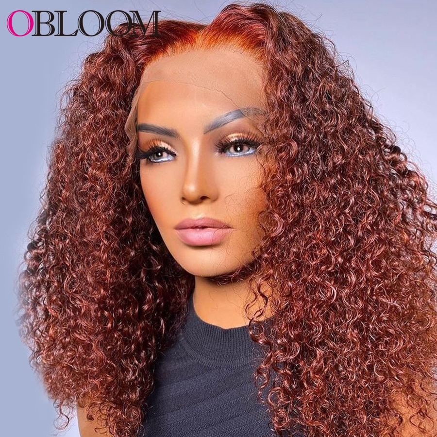 Transparent Ginger Orange T Part Lace Frontal Wig Curly Human Hair Wigs Kinky Curly Short Bob Wig Pre plucked Bleached Knots Wig