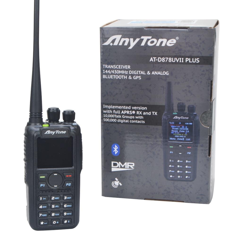 Anytone Ham Radio AT-D878UVII Plus Bluetooth-Compatible PTT GPS APRS Dual Band VHF/UHF DMR Digital Analog Walkie Talkies