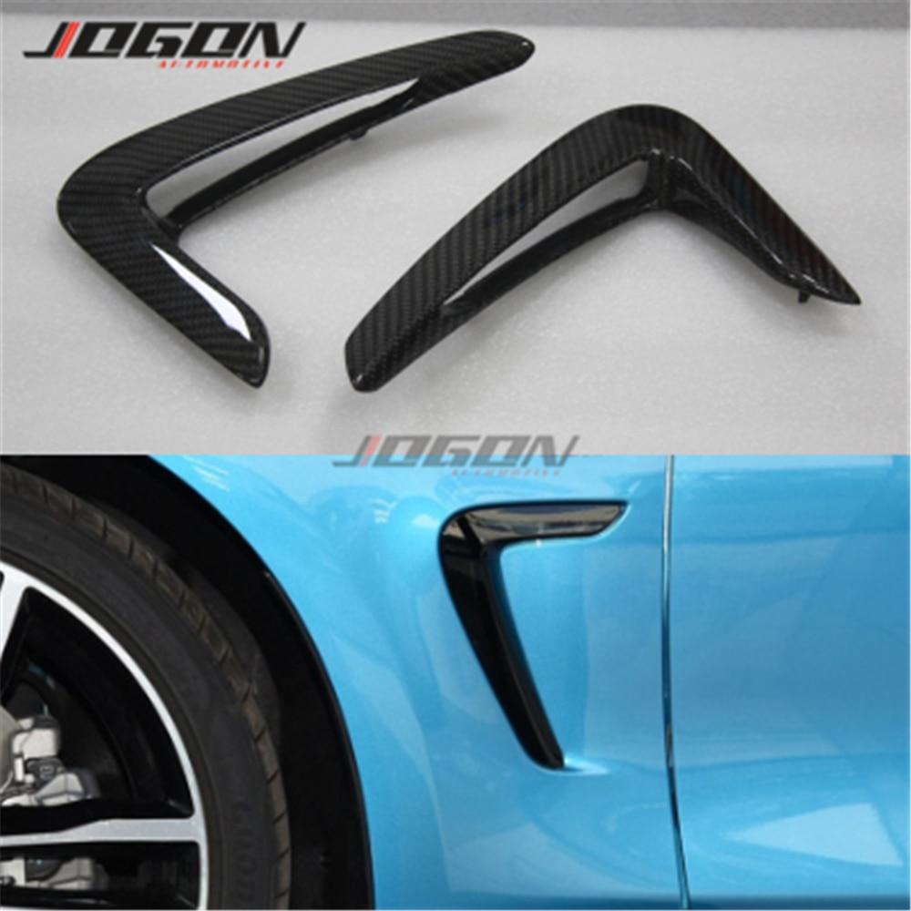 Fibra de carbono fender luz guarnição capa grade lateral para bmw série 4 f32 f33 f36 2014 2015 2016 2017 estilo do carro