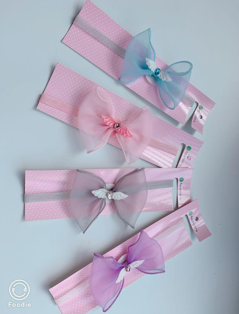 New children's headband snow yarn bow angel wings headband