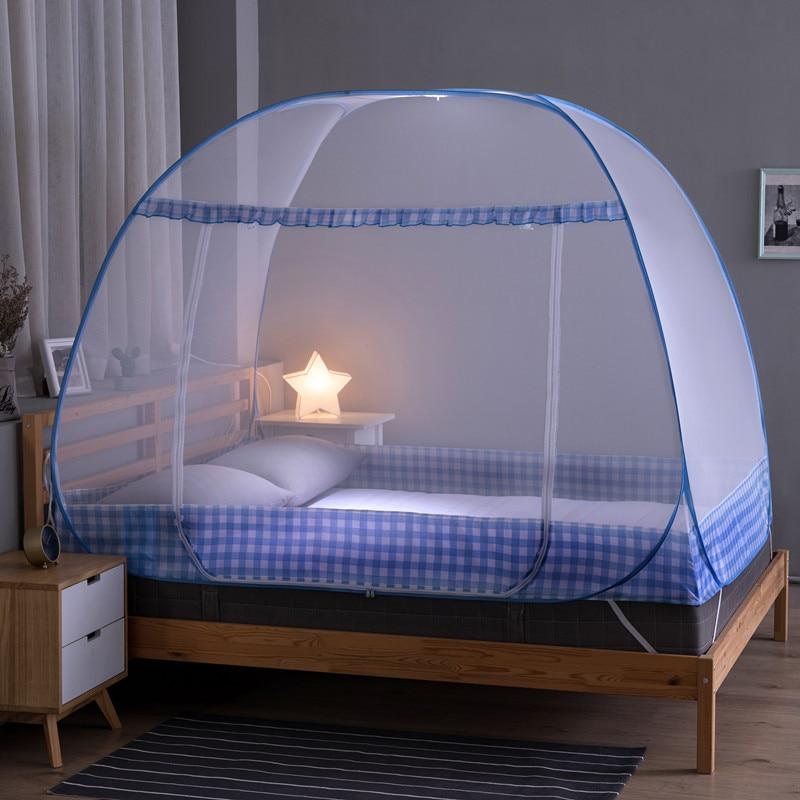 Simple Grid Pattern Mosquito Net Single Bed Mosquito Net 1.2m-1.8m Baby Room Yurt Mosquito Net Foldable Bed Net Tent Single-door enlarge