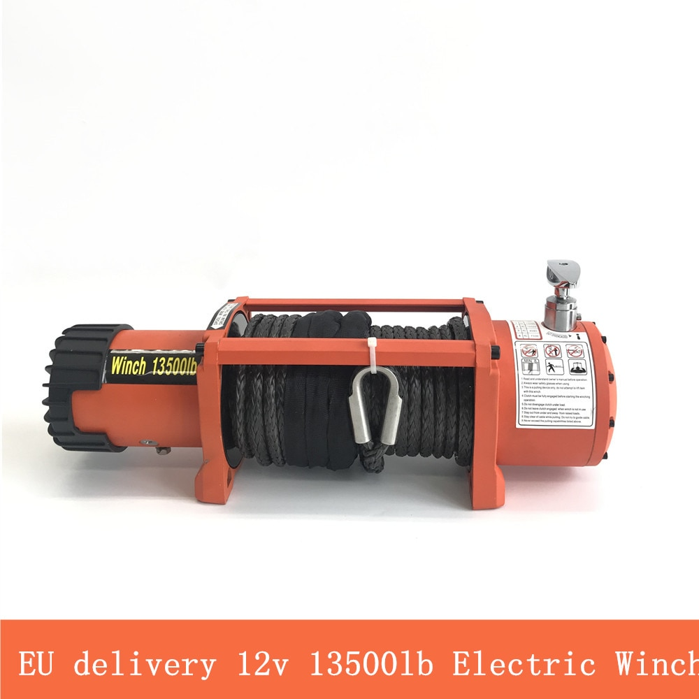 EU delivery  13500lb winch car 12v  Electric Winch Heavy Duty ATV Trailer high tensile nylon rope cable Remote Control Set
