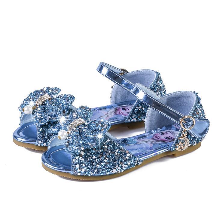 Nuevo verano de dibujos animados niños sandalias lindos niños suaves Elsa Sandalias planas con pajarita niñas Elsa princesa playa zapatos y sandalias para niños