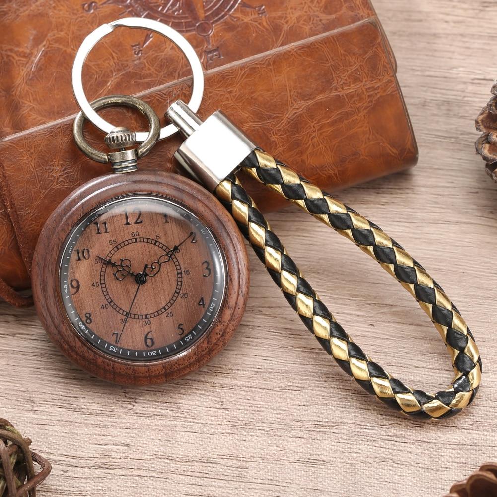 Винтажные деревянные карманные часы, мужские Кварцевые рандомные с черным кожаным шнуром, цепочка для ключей, женские часы, отличные подарк...