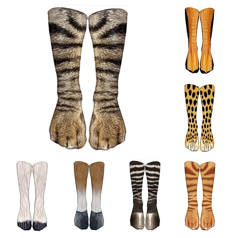 Hot Sale Fashion 3D Printed Unisex Long Socks Animal Paw Pattern Funny Knee Socks Casual Sports Happy Cotton Calf Socks носки