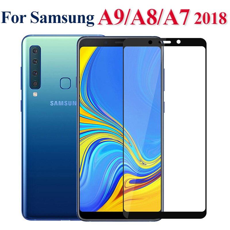Vidrio templado para Samsung A9 A7 2018 A6 A8 Plus 2018, Protector de pantalla de cobertura completa para Galaxy A5 2017 J6 Plus 2018, película de seguridad 9H