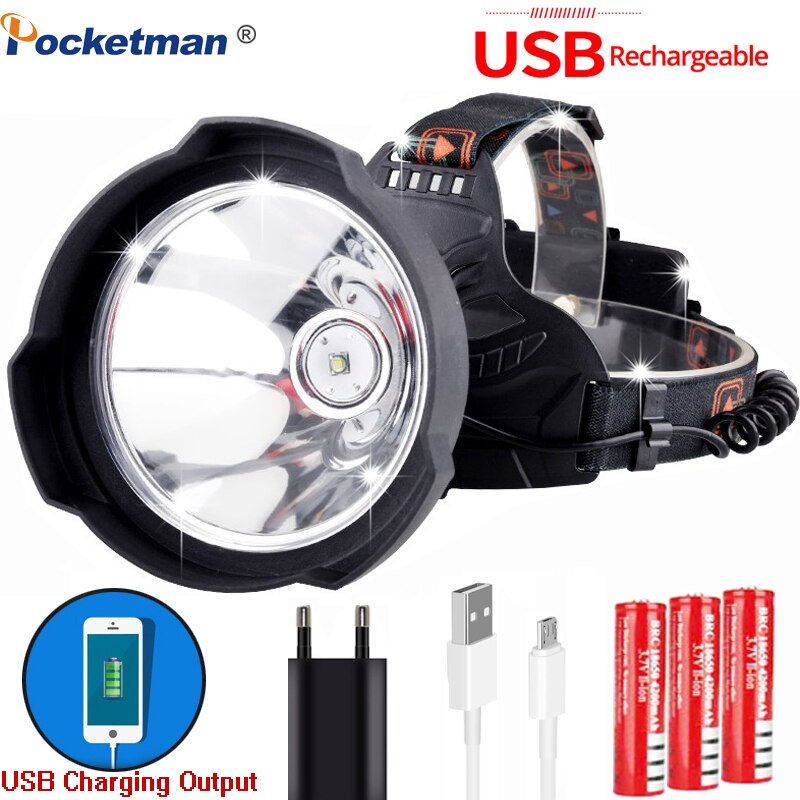 Novo farol led lâmpada de cabeça pode como banco de potência usb recarregável mais brilhante led hardhat luz capacete farol uso 3*18650 bateria