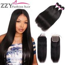 ZZY Mode Haar Peruanische Haar Bundles mit Schließung Gerade Haar Bundles mit Verschluss Haarwebart Bundles Extensions nicht-remy