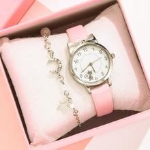 Cute Watch For Girls Cat Pattern Kids Wristwatch Children Leather Quartz Watches Moon Star Bracelet