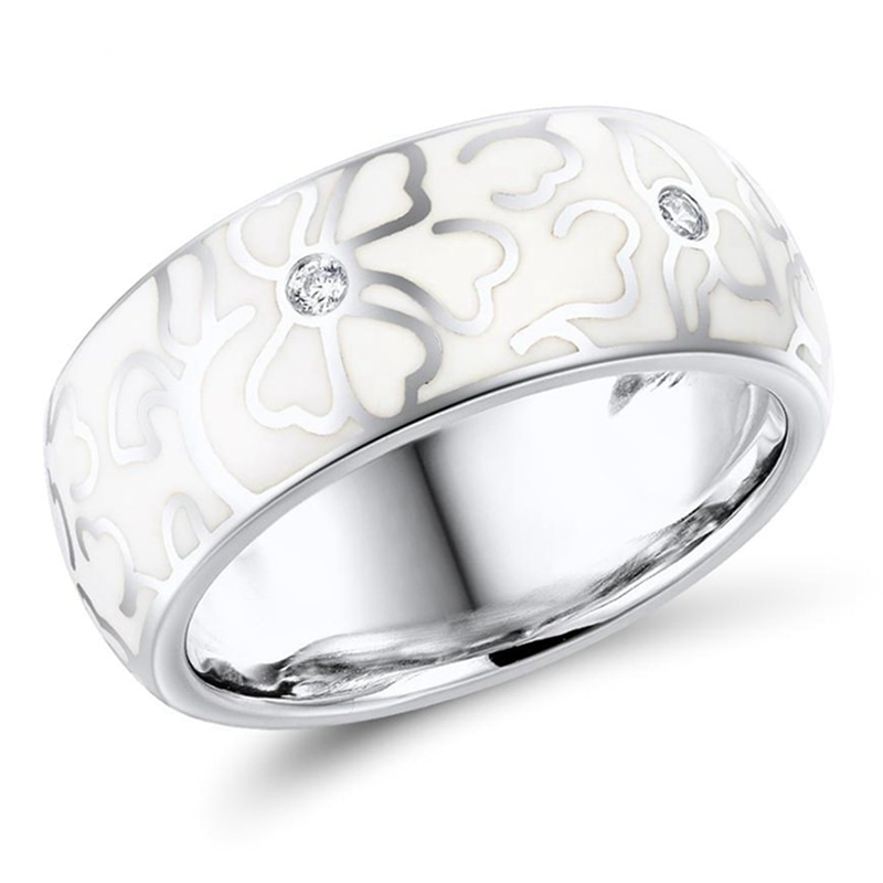 Personalized Retro Handmade Ceramic Ring For Women Elegant White Flowers Pattern Imitation Porcelain Rings Wedding Party Jewelry