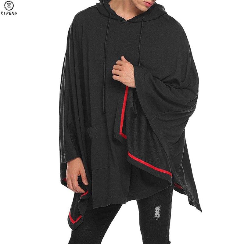 Nuevos hombres irregulares Hoodies Abrigo con capucha Hip Hop sudadera con capa Hoodies holgado Bat manga con capucha capa chaqueta prendas de vestir abrigo