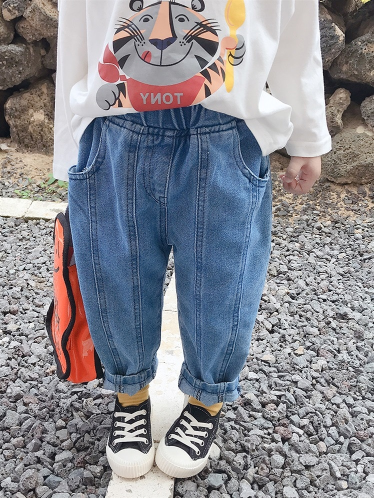2021 Children Jeans New Loose Pants Fashion Baby Spring Autumn Outer Wear All-match Trousers