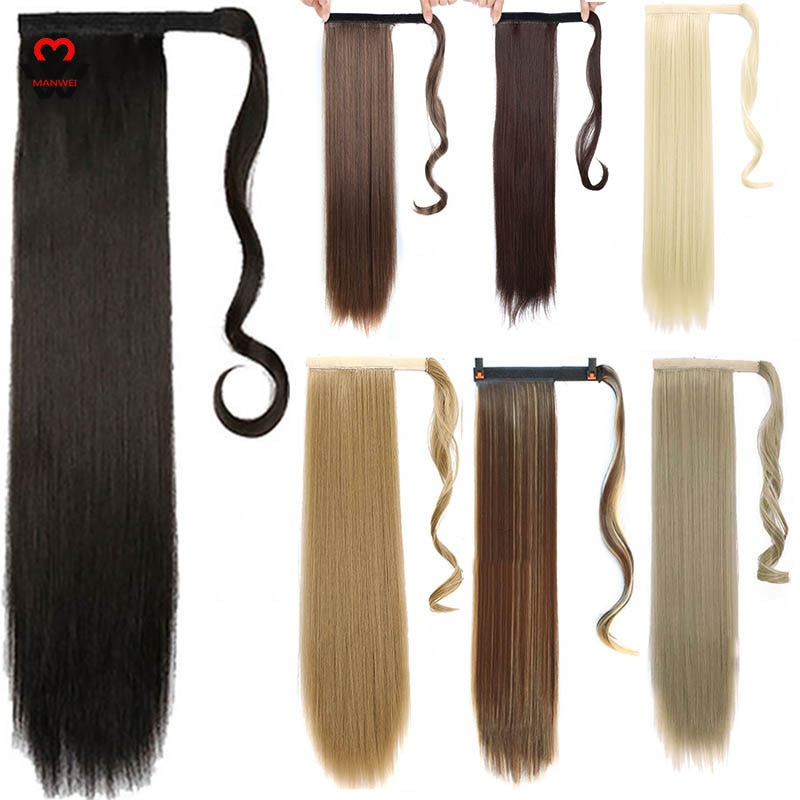 AliExpress - MANWEI Long straight Ponytail Synthetic Hairpiece Wrap on Clip Hair Extensions Ombre Brown Pony Tail Blonde Fack Hair