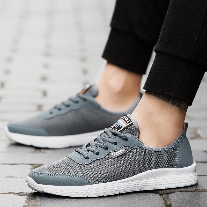 Zapatillas de correr transpirables de gran tamaño, zapatos deportivos de verano para hombre, Zapatillas de malla, zapatillas deportivas ligeras para hombre, zapatillas deportivas de entrenamiento de B-318 gris