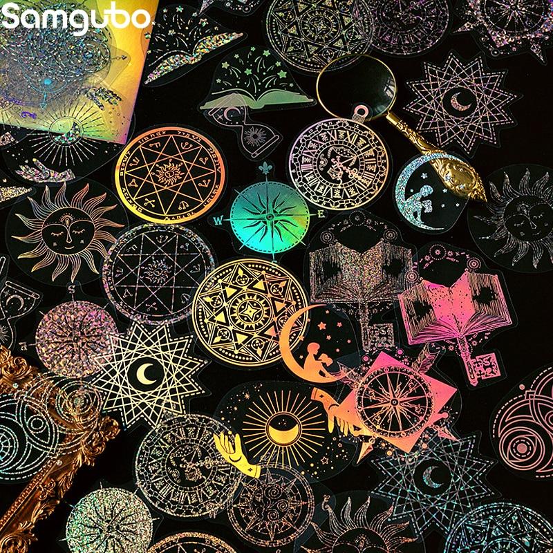 Лазерные Стикеры, канцелярские эстетические Стикеры, канцелярские корейские Стикеры, стикеры для журнала «назад в школу», 45 звёзд
