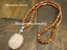 Vintage Handgemachte Halskette Buddhistischen Mala Holz Perlen Anhänger & Halskette druzy anhänger Lange Erklärung Männer frauen Schmuck 108 Budd