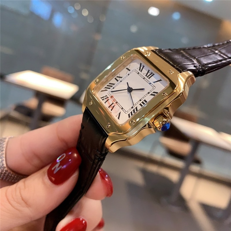 brand C high quality watches genuine leather stripe yellow gold square case watch gift for woman enlarge