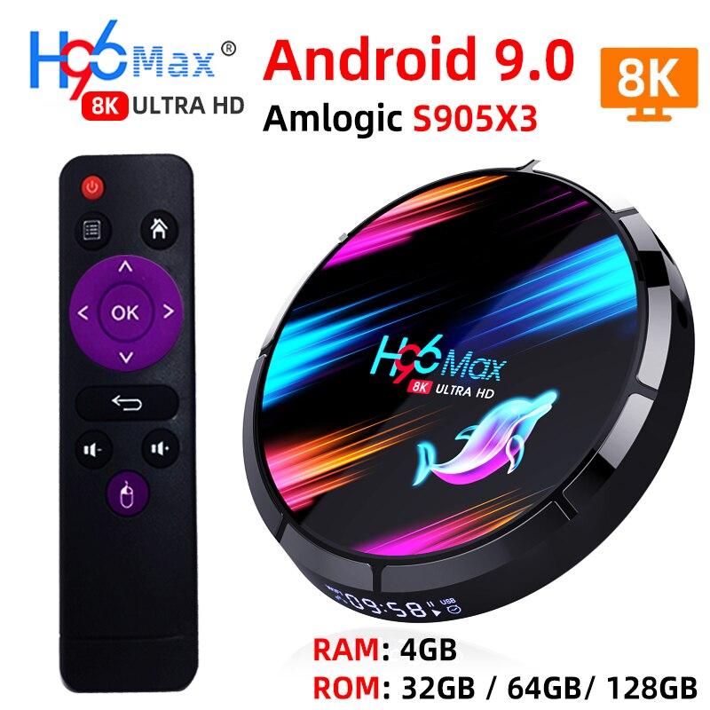 H96 MAX X3 Dispositivo de TV inteligente Android 9,0 RAM 4G ROM 32G 64G 128G Amlogic S905X3 2,4G WIFI BT4.0 Google medios Android TV Box