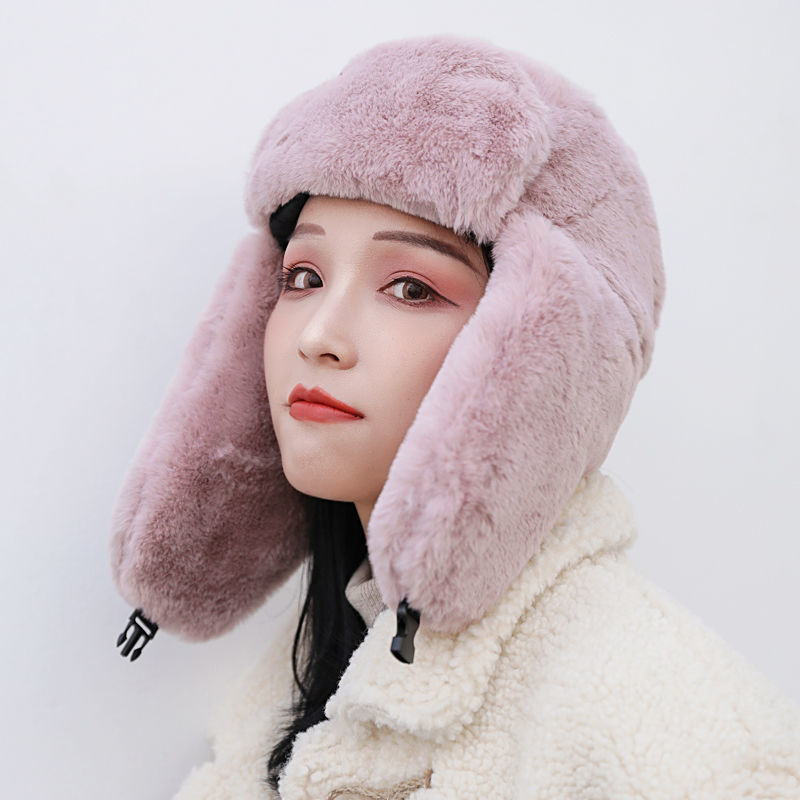 Women Men Ski Hat Warm Cotton Trapper Bomber Hats Earflap Bonnet Snow Caps Russian Ushanka Hat Plush