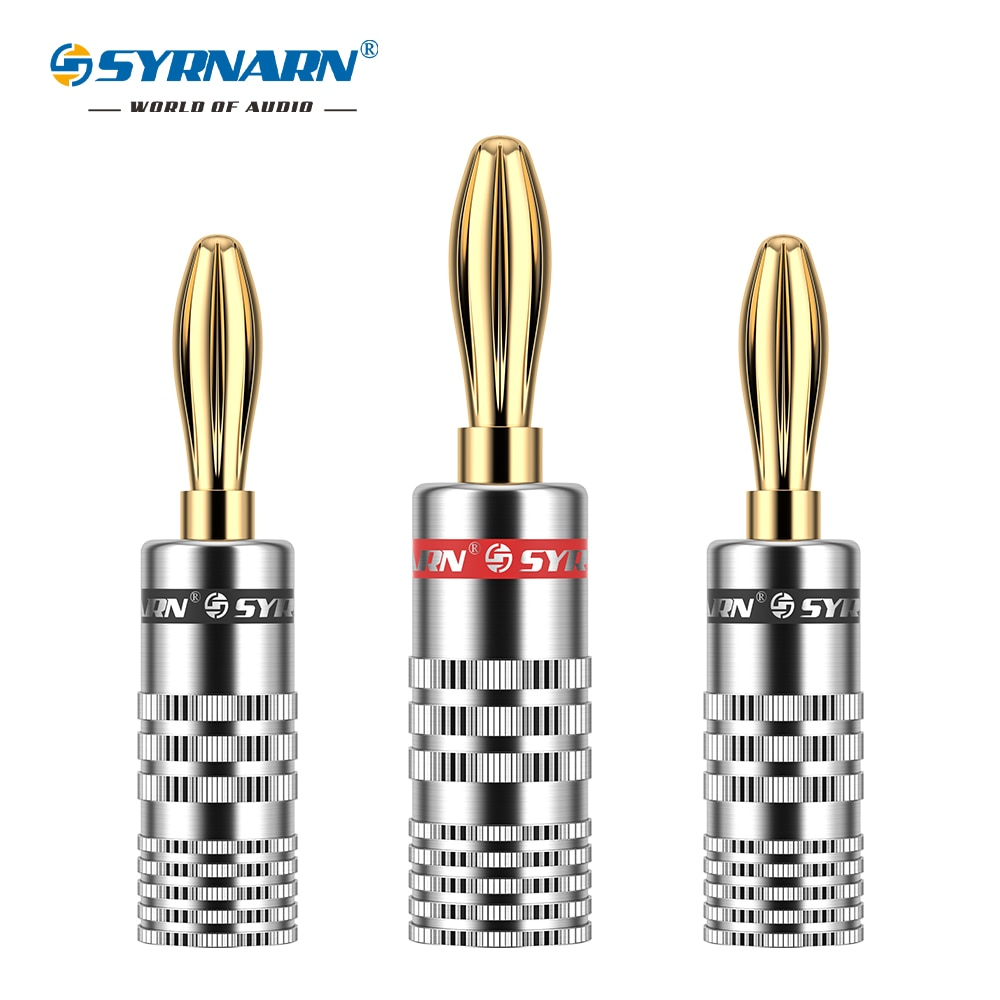 SYRNARN 8PCS/set 4mm SYRNARN Banana Plug For Video Speaker Adapter Banana Plugs Audio Wire Cable Connector 4pcs gold plated 24k banana plugs nakamichi right angle 4mm banana plug for video speaker adapter audio wire cable connector