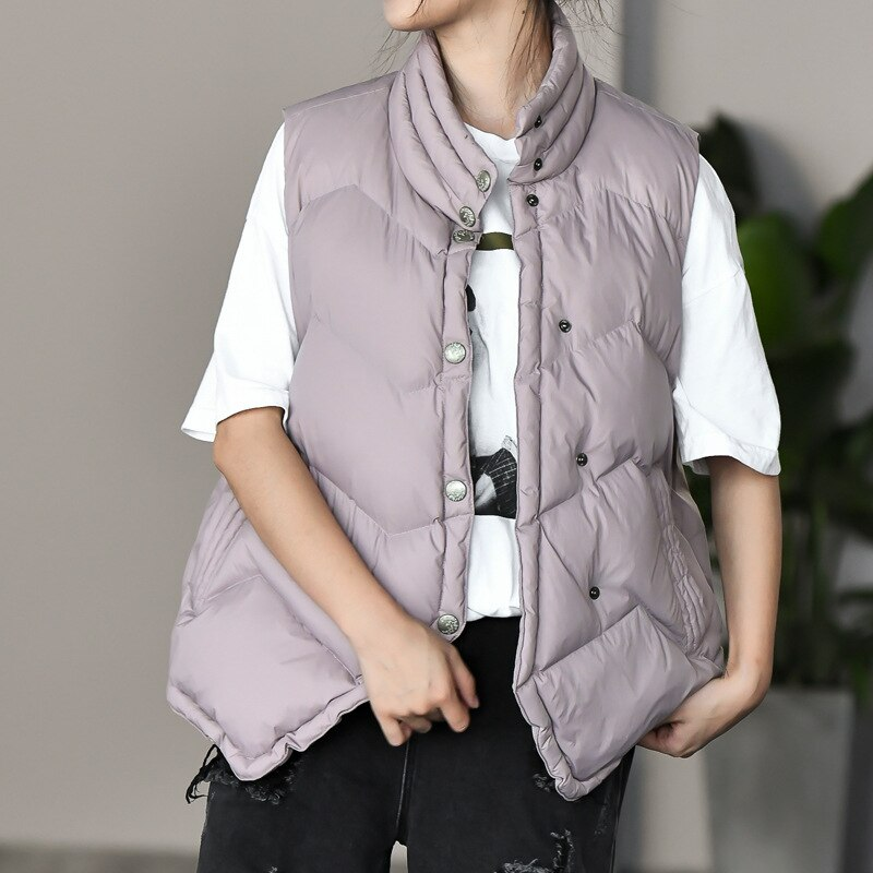 Winter nNew style stand-up collar Down Vest Women Duck down lightweight Vest Jacket Female pure color casual simple Down jacket winter new style ladies stand up collar lightweight down vest casual style down vest women s big pocket fashion solid color vest