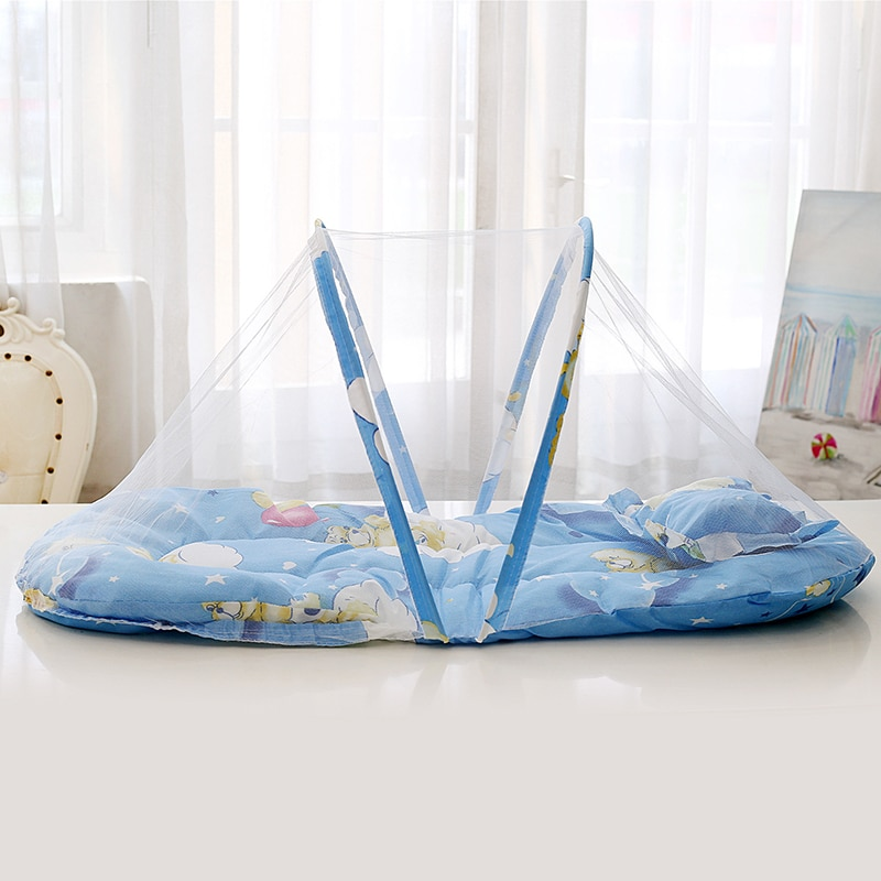 baby crib netting baby bed mosquito nets mattress pillow portable mosquito net tent crib sleeping cushion collapsible for kids Portable Baby Kids Infant Bed Foldable Dot Zipper Mosquito Net Tent Crib Sleeping Cushion Collapsible Mosquito Net