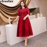 prom dresses burgundy dresses women party night t324 2019 half sleeve plus size vestidos de gala o neck beading formal prom gown