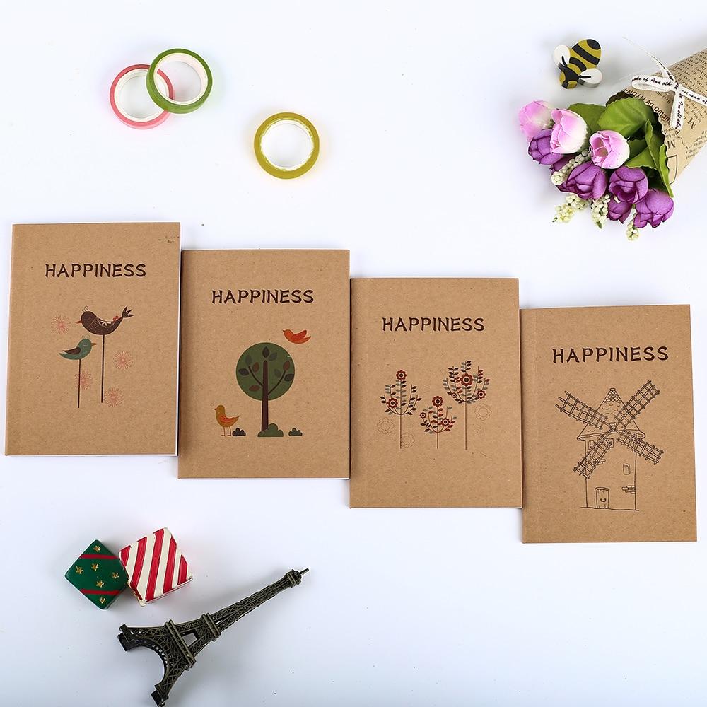 4 Uds Retro en blanco linda flor feliz pájaro cuaderno Kawaii planificador Oficina Mini diario Bloc de notas Agenda papelería Kit estacionario