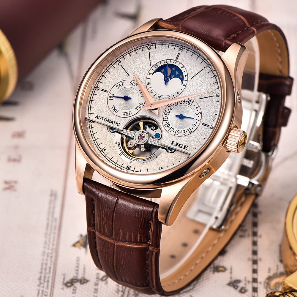 LIGE Men Watch Top Brand Mens Mechanical Watches Automatic Tourbillon Skeleton Watch Men Calendar Re