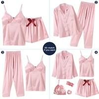 7 pieces womens faux silk satin pajamas sets pyjamas suit sleepwear pijama autumn spring female sleep nightwear loungewear set