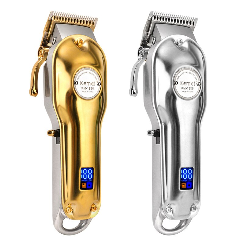 Kemei-ماكينة قص الشعر الاحترافية للرجال ، ماكينة حلاقة كهربائية لاسلكية ، ماكينة تشذيب اللحية ، لون ذهبي وفضي