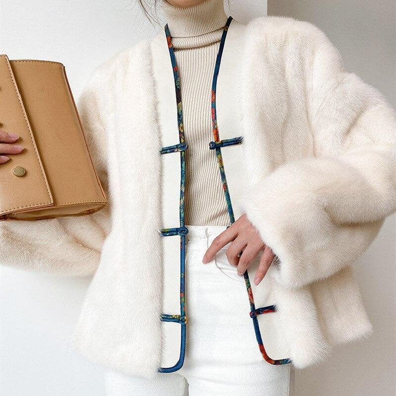 Vintage نمط استيراد الحقيقي المخملية المنك معاطف جاكيتات النساء قصيرة تانغ دعوى الصدر زر كامل الفراء أبلى الدافئة الشتاء الملابس