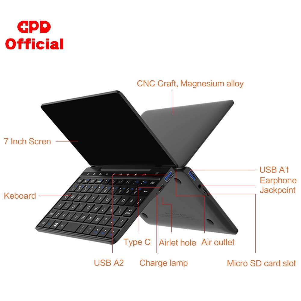 Latest Pocket Slim Laptop Ultrabook GPD Pocket 2 8GB+256GB 7 Inch Mini PC Computer Netbook Notebook IPS Touch Screen Windows 10 6