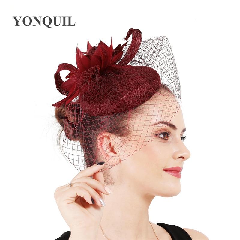 Sinamay-قبعة زفاف أنيقة من 4 طبقات للنساء ، وغطاء رأس شبكي ، وقبعة زفاف من الكتان ، وإكسسوارات شعر أنيقة للنساء
