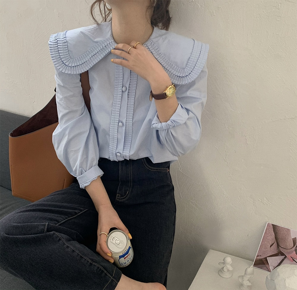 H349240f14e0d4b50b187b830f9b332c6C - Spring / Autumn Frilled Big Lapel Collar Long Sleeves Solid Blouse