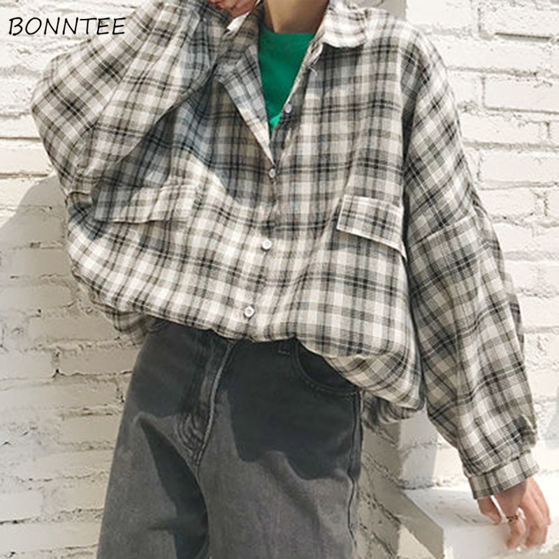 Camisas Mujer verano otoño moda estilo coreano All-match Casual Plaid bolsillos Turn-down Collar linterna manga mujeres blusas