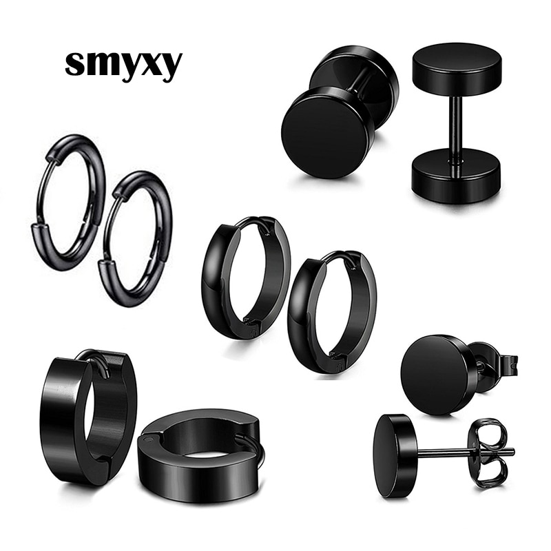 1 pair Multiple Styles Unisex Black Color Stainless Steel Piercing Earring For Women Men Punk Gothic Barbell Earring Ear Circle