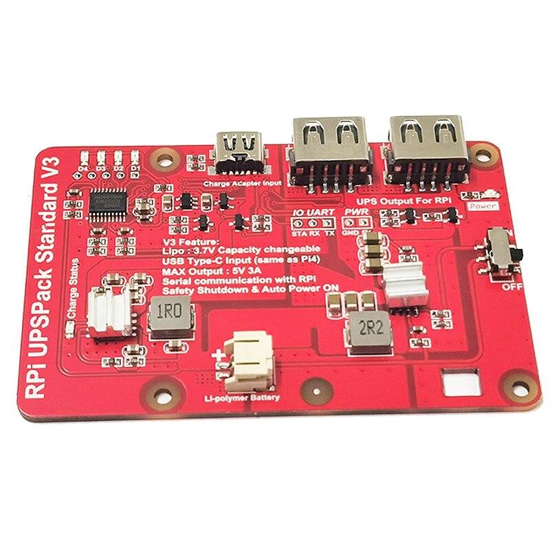 لوحة توسيع طاقة بطارية الليثيوم ، Raspberry Pi 4B / 3B / 2B ، UPS ، إصدار V3