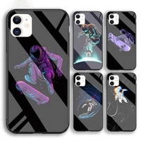 funny space astronaut skateboard phone case for iphone 6 6s 7 8 plus xr x xs xsmax 11 12 pro mini max tempered glass