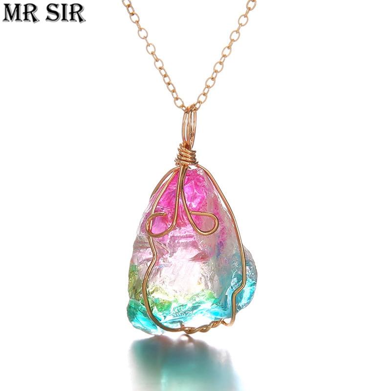 Модное ожерелье с подвеской в виде Розы с кристаллами, Необычное Ожерелье из необработанного медного провода, ожерелье с плетеной веревкой,...